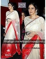 Bollywood Replica Sarees Sridevi White& Red By Namo House