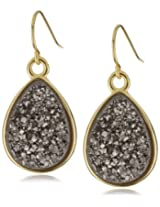 "Marcia Moran ""Illume"" Titanium Druzy Stone Small Drop 18k Gold-Plated Earrings"