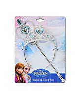 2 Pk, Disney Frozen Crown Tiara and Wand Set - Silver with Blue Elsa and Anna Heart Jewel
