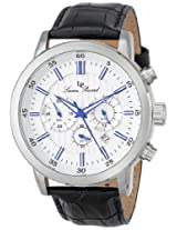 Lucien Piccard Men's 12011-023S Monte Viso Chronograph White Textured Dial Black Leather Watch