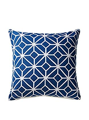 Geometric Square Throw Pillow, Navy/White
