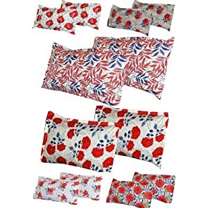 Set Of 2 Full Size 100% Cotton Red & Black Printed Pillow Covers