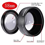Neewer® 58mm 0.45x Wide Angle Lens with Macro for Canon Digital EOS Rebel T1i, T2i, T3, T3i, T4i, T5i, SL1, EOS 60D, EOS 70D, 50D, 40D, 30D, EOS 5D, EOS 1D, EOS 5D Mark 2, EOS D Digital SLR Cameras Which Has Any Of These (18-55mm, 55-250mm, 100-300mm, 18-250mm, 70-300mm, 75-300mm, 50mm 1.4 , 55-200mm. 24mm) Canon Lenses (Lens Bag included)