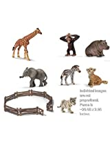 Set Of Seven Schleich Wild African Animal Babies With Brown Fence