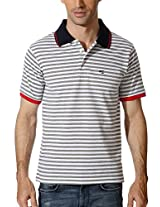 Peter England Striped T Shirt With Contrast Pique