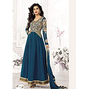 Whatshop Cyan Heavy Designer Long Anarkali Suit