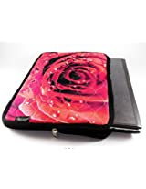 Devarshy Limited Edition Floral Print 17 Inch Computer Quilted Laptop Sleeves/ Cover - Red Rose