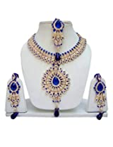 Lucky Jewellery Fabulous Blue Alloy Chain Patwa Set With Maang Tikka for Women (825-ISP-801-B)