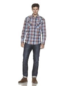 Just A Cheap Shirt Men's Howdy Cowboy Plaid Shirt (Blue/Orange)