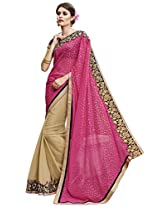 Indian Women Marble Butta And Georgette Pink And Beige Half & Half Saree
