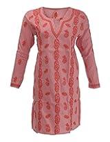 Imperial Chikan Women's Cotton Regular Fit Kurti (11176, Pink, 42)