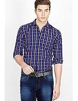 Checks Purple Slim Fit Casual Shirt
