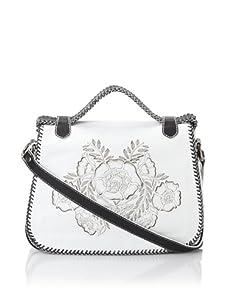 Isabella Fiore Women's Carley Floral Appliqué Saddle Bag (Ivory/Black)