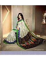 Brijraj Jennifer Winget, White Brown Bhagalpuri silk Beautifull Printed Saree Wih Unstitch Blouse