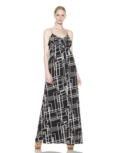 Rachel Pally Women's Long Ruffle Slip Dress (Black Squares)