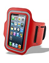 """Protective iPhone 6 4.7"""" inch / Samsung Galaxy S3 / S4 / S5 and other with 5 """" inch screen Armband - Fully Adjustable Size Lightweight Armband Case with Key Holder for Gym Jogging Running Walking and Other Sports - RED"""