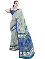 Vibes Women's Crepe Silk Saree with Blouse (S6-4012_ Grey)