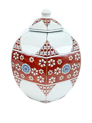 Achoura Jar, Light Blue/Red