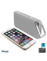 Aud Mini Smart 6 by iLuv - Slim Pocket-Sized Portable Weather Resistant Bluetooth Speaker with App-Enable FM Radio for Hiking Camping Traveling & All Other Outdoor Activities. Compatible with Apple iPhone 6 iPhone 6 Plus iPhone 5S iPhone 5C iPhone 5 iPhone 4S iPad Air iPad mini Samsung GALAXY S6 Samsung GALAXY S5 Samsung GALAXY S4 Samsung GALAXY S3 Samsung Note 4 Samsung Note 3