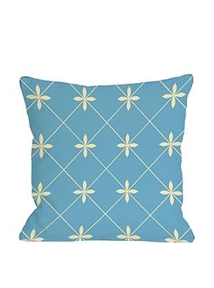 One Bella Casa Crisscross Flowers 18x18 Outdoor Throw Pillow (Light Blue)