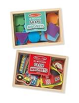 Melissa & Doug Wooden Magnets Bundle - Shapes and Farm