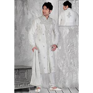 Utsav Fashion MKC255 Silk White Sherwani Churidar