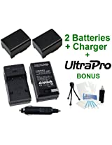 2-Pack Canon BP-808/809 High-Capacity Replacement Batteries with Rapid Travel Charger for Canon FS10 FS100 FS11 FS20 FS200 FS21 FS22 FS30 FS300 FS31 Camcorders - UltraPro BONUS INCLUDED: Camera Cleaning Kit Camera Screen Protector Mini Travel Tripod