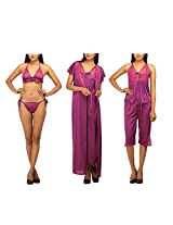 DesiHarem Sexy Nightwear Lingerie Bridal 6 Pc. Dark Purple Set