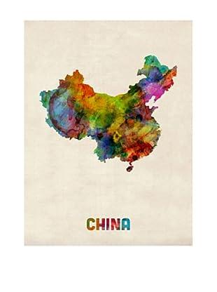 Trademark Fine Art China Watercolor Map by Michael Tompsett
