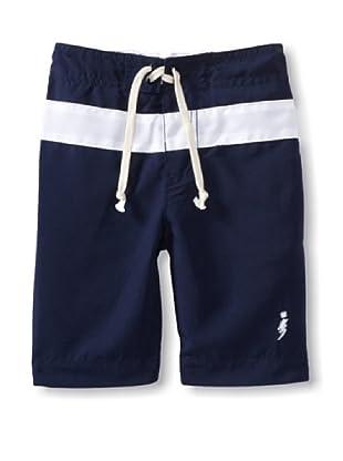 iNTAKT Boy's Board Shorts with Stripe (Navy/White)