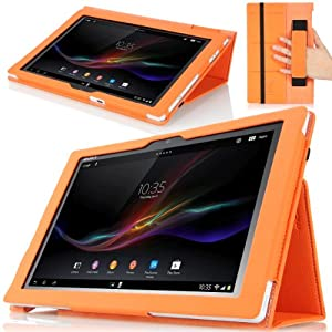 MoKo Slim Cover Case for Sony Xperia Tablet Z 10.1 inch ORANGE (with Smart Auto Sleep / Wake Feature Flip Stand and Integrated Elastic Hand Strap)