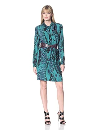 Hale Bob Women's Snake Print Shirt Dress with Neck Tie (Teal)
