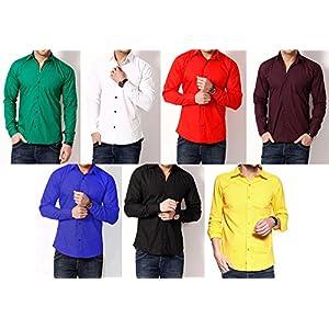 RPB Combo of 7 Cotton Plain Men Shirts
