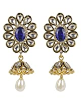 Beautiful White-Blue Combination Floral Design Kundan Made Fashion Earring For Women Jewelry