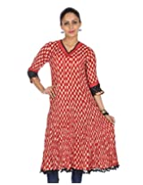 Rajrang Women's Printed Long Kurti (TOP05055_Red_Small)