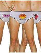 Lure White Fruits Printed Cotton Briefs - Pack Of 3