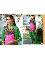 Fabboom New Pink And Green Colour Designer Cambric Cotton Patiyala Suit