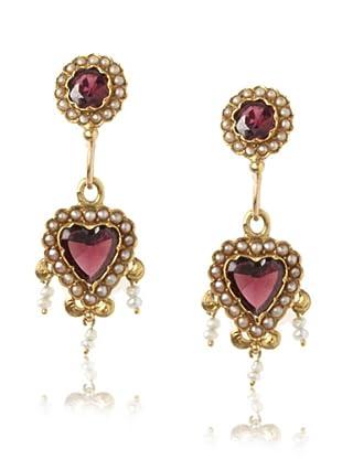 Doyle & Doyle Late Victorian Garnet & Pearl Heart Earrings