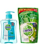 Dettol Cool Handwash -250 ml with Free Dettol Liquid Soap - 185 ml Pouch