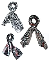 Diwali sale - Set of three trendy Stoles, scarf and dupatta multicolored stole for women - BUY SET SAVE SHIPPING