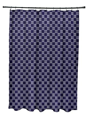 e by design Square Pattern Shower Curtain, Blue
