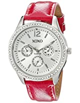 XOXO Women's XO3180 Silver Dial Fuchsia Snake Strap Watch