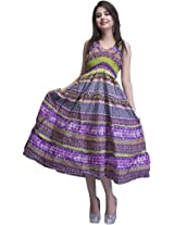 Purple and Green Barbie Dress with Printed Flowers - Pure Cotton [Apparel]