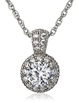 100 Facets Collection Platinum-Plated Sterling Silver and Round Cubic Zirconia Pendant Necklace
