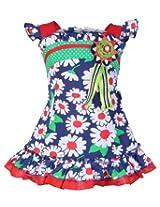 Saps Blue Cap Sleeves Floral Print Aline Frock - Flower Applique