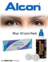 Alcon Freshlook One-Day Blue Color Contact Lenses By Visions India 10 Lens Pack-0.00