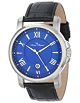 Lucien Piccard Men's LP-12358-03 Cilindro Blue Textured Dial Black Leather Watch