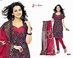 Bhuwal Fashion Unstitched Semi-Cotton Blue & Red Salwar Kameez with Dupatta