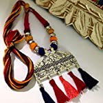Multi colour thread bead and tassel necklace with large silver pendant