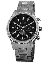 August Steiner Men's AS8105SSB Swiss Quartz Multifunction Black Dial Silver-tone Bracelet Watch